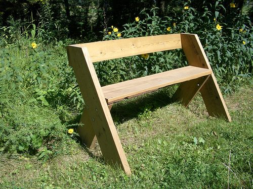 This Is Another Simple Bench Design. It Has One Piece Of Wood Across The  Back For Support. It Also Has Four Shorter Legs.