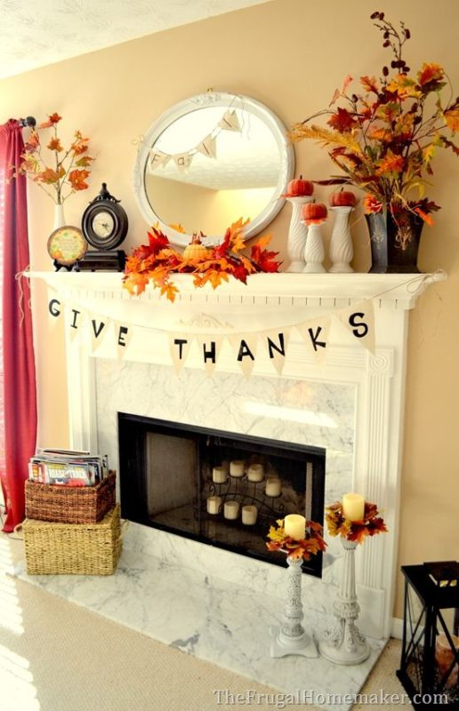 Even If You Don T Have A Fireplace Ll Love Stringing This Give Thanks Banner In Your House