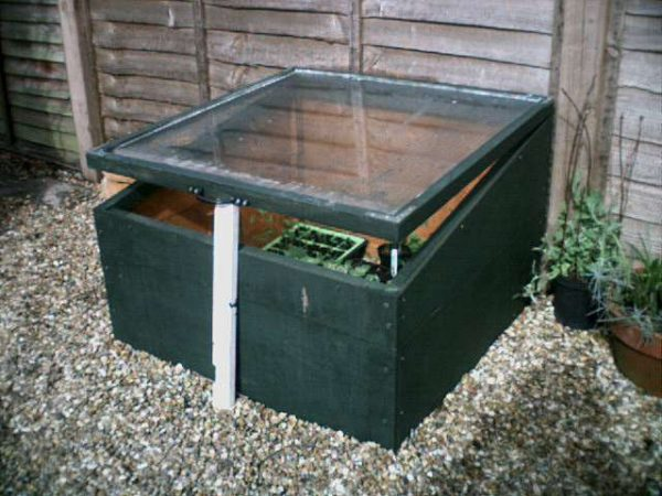 A cold frame propped open with a piece of PVC