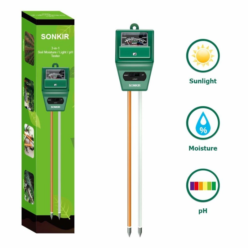 Sonkir MS02 3-in-1 Soil pH Meter Tester