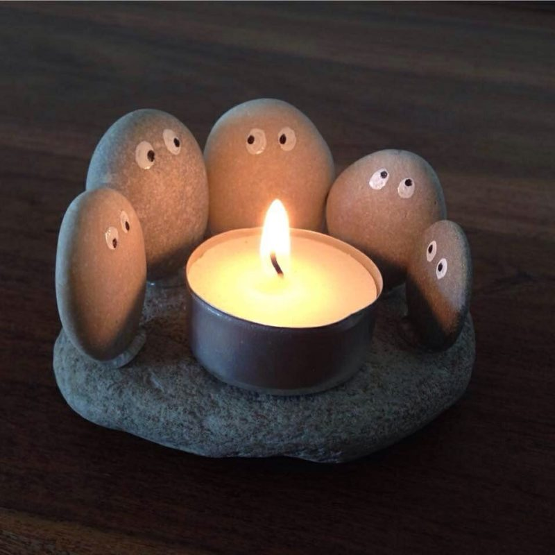 rocky diy candle holders