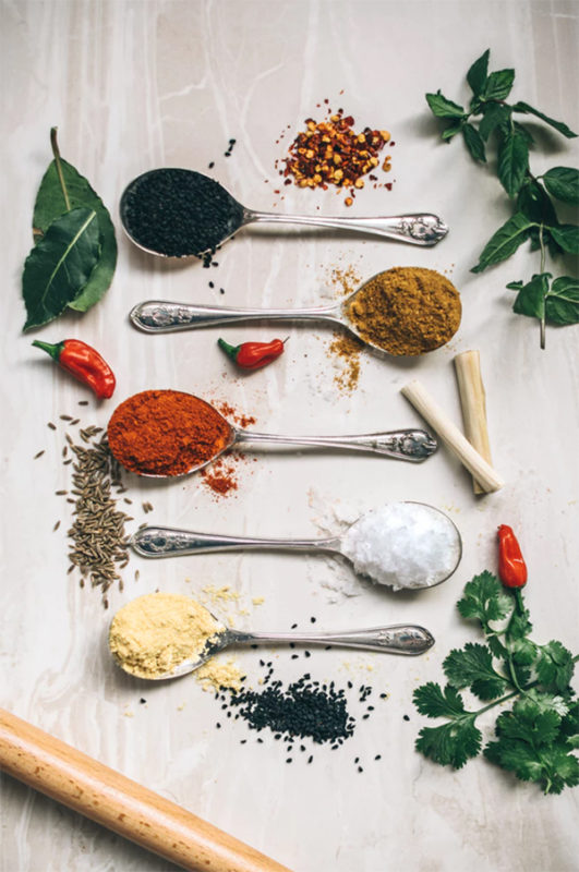Herbs and spices from a kitchen herb garden