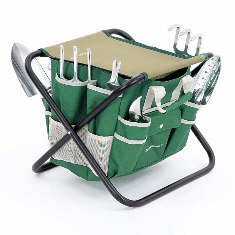 SONGMICS UGGS40L 8-piece Folding Garden Stool Tool Set
