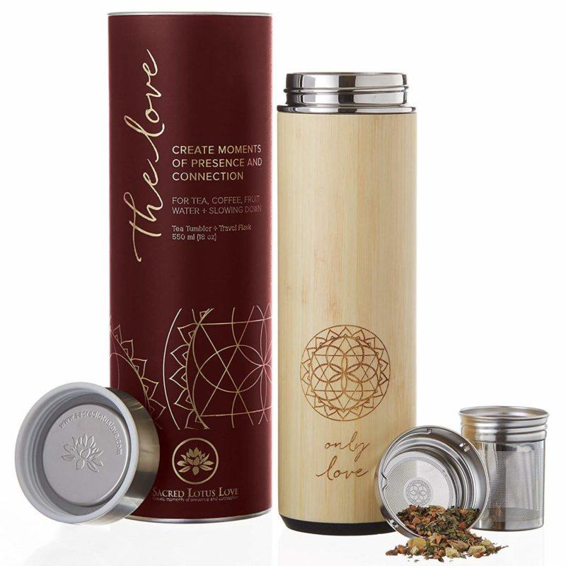 Sacred Lotus Love 18-ounceBamboo Tumbler Thermos Flask