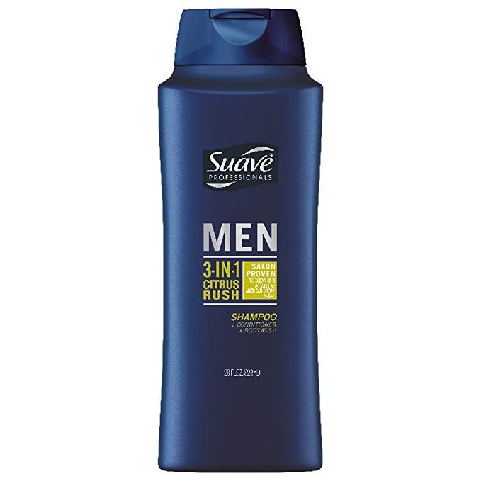Suave Men 28-ounce 3-in-1 Citrus Rush Shampoo Conditioner Body Wash