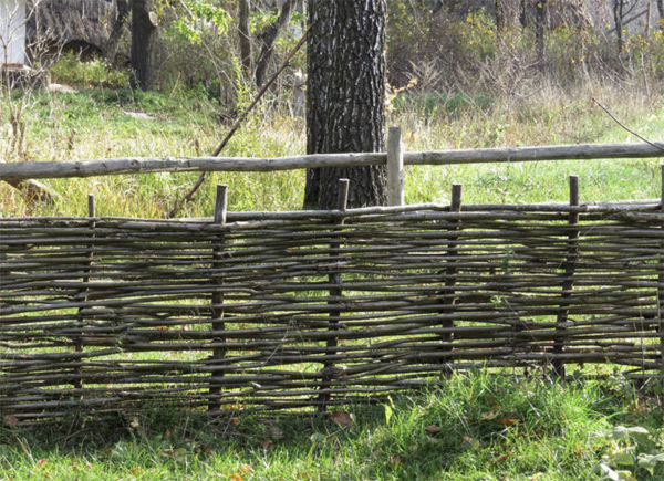 Wattle fencing made out of hazelnut wood
