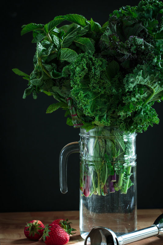 Kale and other greens in a jar