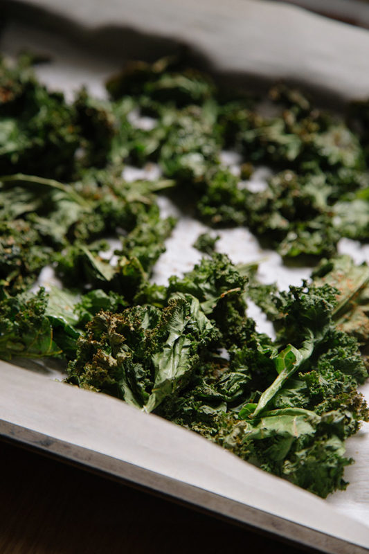 Kale baking on a sheet