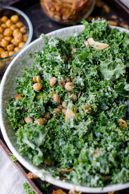 Kale leaves in a dressed salad