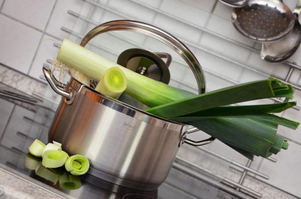 Leeks in a pot