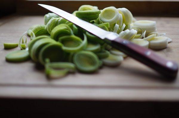 Leeks chopped up with a knife